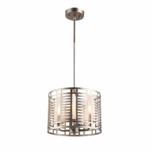 Lighting AVERY Industrial 4 Lights Antique Silver Ceiling Pendant 12  Wide Perspective: front