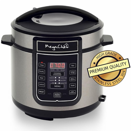 MEGACHEF MCPR100A Quart Digital Pressure Cooker with 14 Pre-set Multi Function Perspective: front