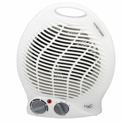 Vie Air VA-301B 2-Settings White Home Fan Heater With Adjustable Thermostat Perspective: front