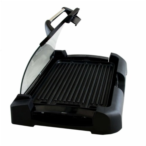 MegaChef Reversible Indoor Grill And Griddle With Removable Glass Lid Perspective: front