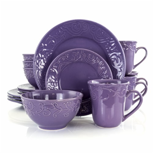Elama Lilac Fields 16-Piece Dinnerware Set Perspective: front
