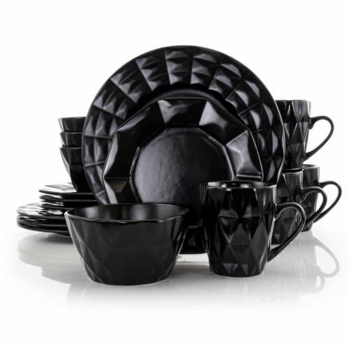 Elama Retro Chic 16-Piece Glazed Dinnerware Set in Black Perspective: front