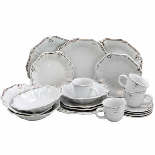 Elama Fleur De Lys 20-Piece Dinnerware Set in White Perspective: front