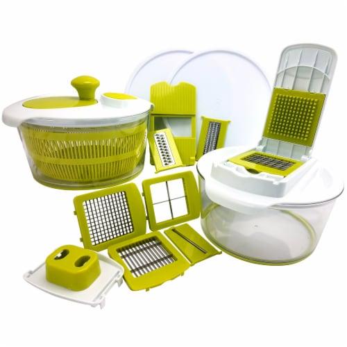 MegaChef MG-SALAD-SPINNER-MULTI-SLICER-DICER 10-in-1 Multi-Use Salad Spinning Slicer Perspective: front