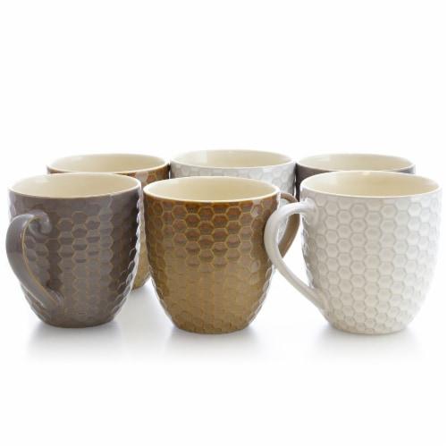 Elama Honeycomb 6-Piece 15 oz. Mug Set, Assorted Colors Perspective: front