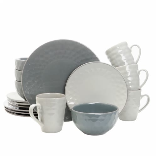 Elama Tahitian Pearl 16 Piece Stoneware Dinnerware Set in Slate and Stone Pearl Perspective: front