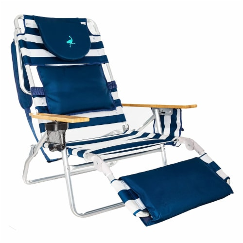 Ostrich Deluxe Padded 3-N-1 Outdoor Lounge Reclining Beach Chair, Striped Blue Perspective: front