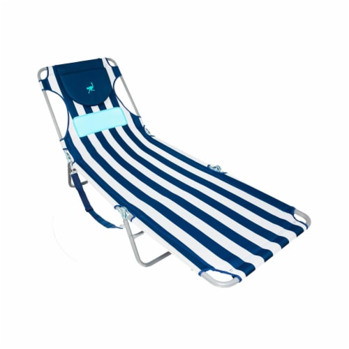 Ostrich Comfort Lounger Face Down Sunbathing Chaise Lounge Beach Chair, Stripes Perspective: front