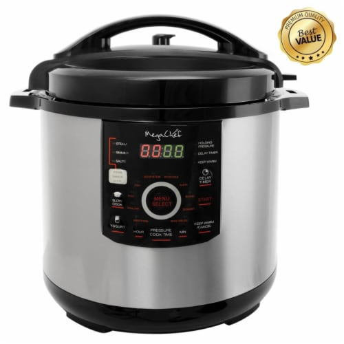 MegaChef MCPR-3500-RB 12 qt. Digital Pressure Cooker with 15 Presets Perspective: front