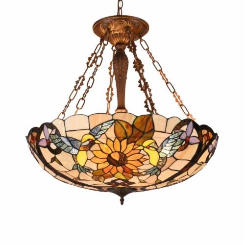 Lighting SOAR Tiffany-style Dark Antique Bronze 4 light Animal Ceiling Pendant 28  Wide Perspective: front