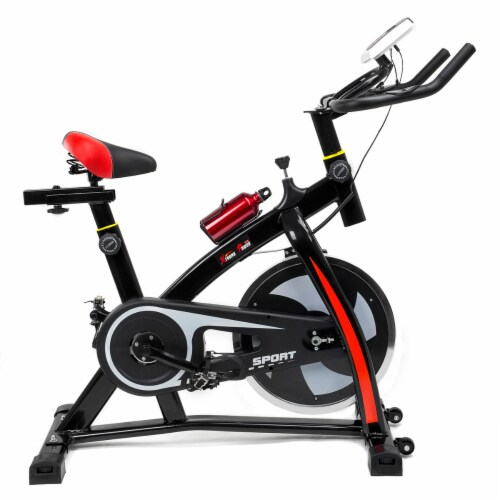 Indoor Exercise Fitness Bike Stationary Bicycle Cardio Home Cycling Bike, Red Perspective: front