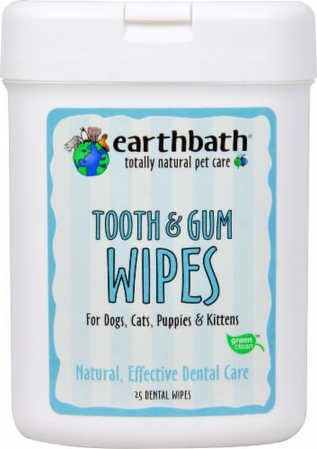 Earthbath  Tooth & Gum Wipes For Dogs Cats Puppies & Kittens   Peppermint Perspective: front