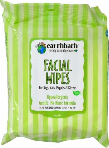 Earthbath  Facial Wipes for Dogs Cats Puppies and Kittens Perspective: front