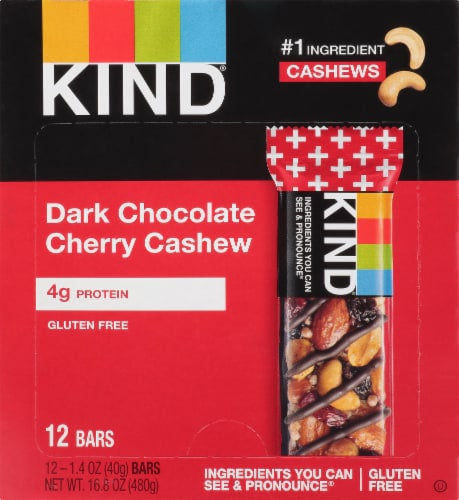 KIND Dark Chocolate Cherry Cashew Bars Perspective: front
