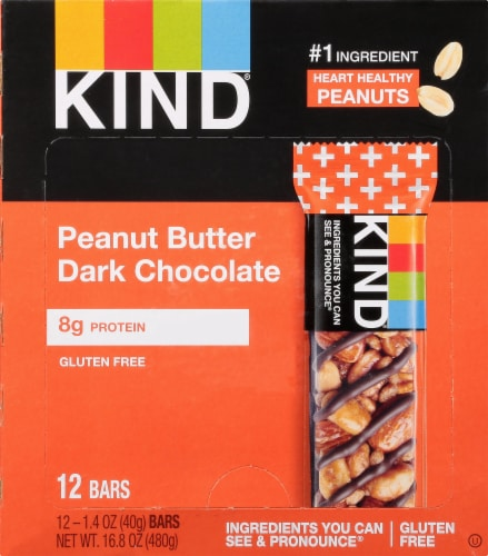 KIND Peanut Butter Dark Chocolate Fruit & Nut Bars Perspective: front