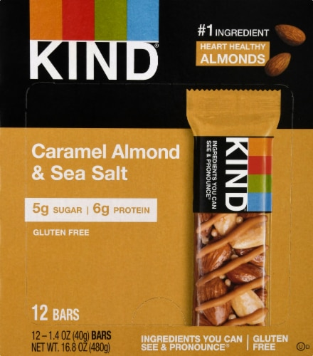 KIND Nuts & Spices Caramel Almond & Sea Salt Bars Perspective: front