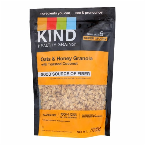 Kind Healthy Grains Oats and Honey Clusters with Toasted Coconut - 11 oz - Case of 6 Perspective: front