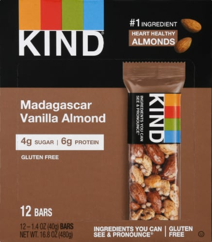 KIND Madagascar Vanilla Almond Bar Perspective: front