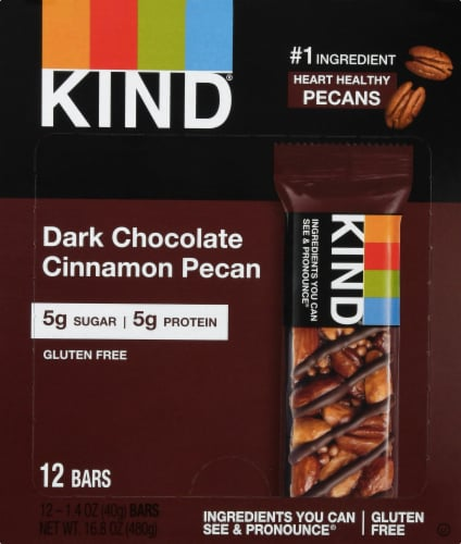 KIND Nuts & Spices Dark Chocolate Cinnamon Pecan Nut Bars Perspective: front