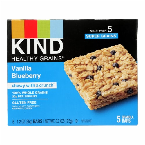 Kind Bar - Granola - Healthy Grains - Vanilla Blueberry - 1.2 oz - 5 Count - Case of 8 Perspective: front