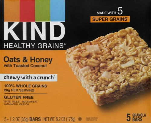 KIND Healthy Grains Oats & Honey With Toasted Coconut Granola Bars Perspective: front