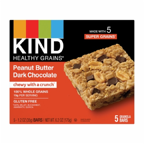 KIND Healthy Grains Peanut Butter Dark Chocolate Granola Bars Perspective: front
