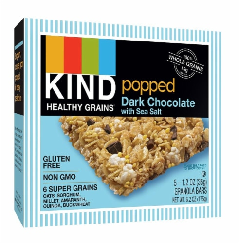 KIND Healthy Grains Popped Dark Chocolate with Sea Salt Granola Bar 5 Count Perspective: front