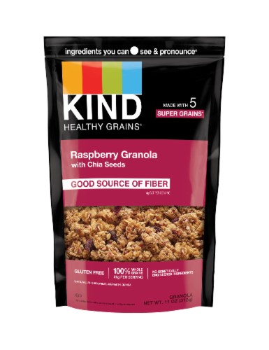 Kind Clusters - Granola - Healthy Grains - Raspberry with Chia Seeds - 11 oz - Case of 6 Perspective: front