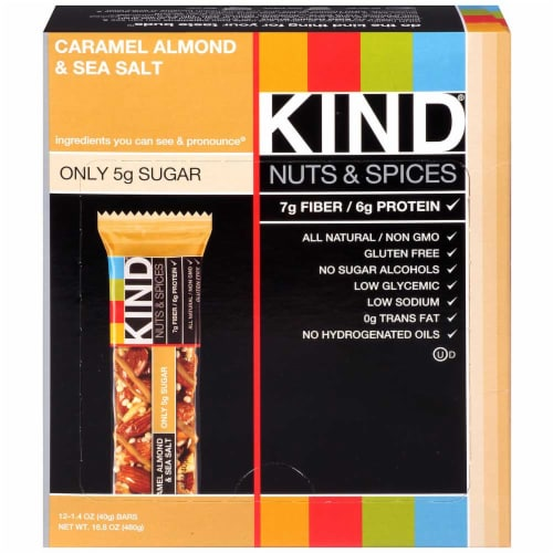 Kind Healthy Caramel Almond Sea Salt Snack Bar, 1.4 Ounce -- 72 per case. Perspective: front