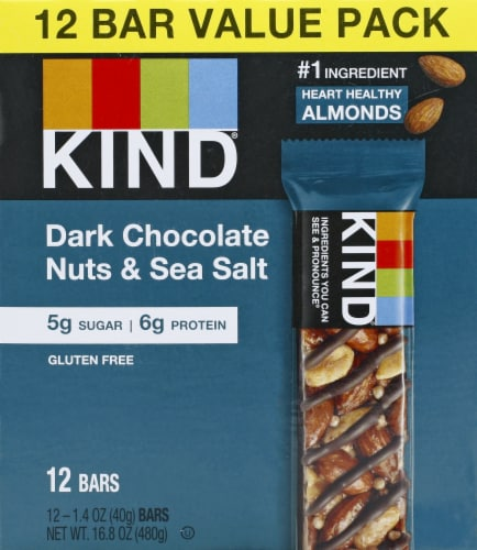 KIND Dark Chocolate Nuts & Sea Salt Snack Bars Perspective: front
