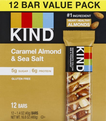 KIND Nuts & Spices Caramel Almond & Sea Salt Nut Bars Perspective: front
