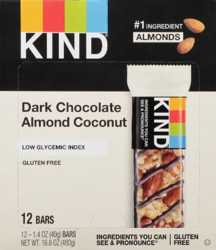KIND Dark Chocolate Almond & Coconut Fruit and Nut Bars Perspective: front