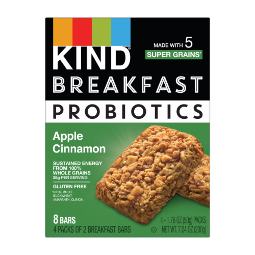Kind Probiotics Apple Cinnamon Breakfast Bars Perspective: front