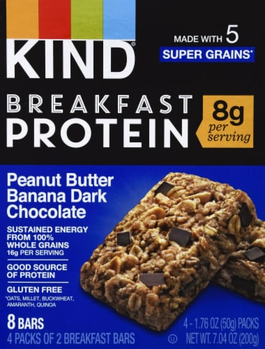KIND Breakfast Protein Peanut Butter Banana Dark Chocolate Breakfast Bars Perspective: front
