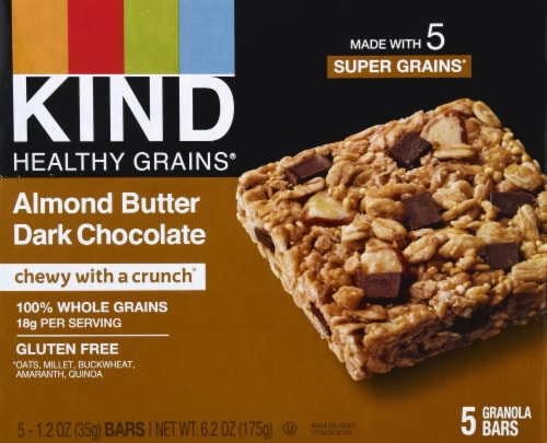 KIND Healthy Grains Almond Butter Dark Chocolate Granola Bars Perspective: front