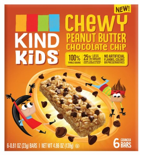 KIND Kids Chewy Peanut Butter Chocolate Chip Granola Bars Perspective: front