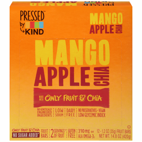 KIND Pressed Mango Apple Chia Fruit Bars Perspective: front