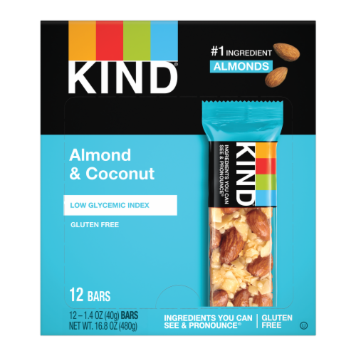 KIND Almond & Coconut Gluten Free Bars Perspective: front