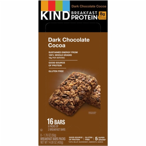 Breakfast Protein Bars, Dark Chocolate Cocoa, 50 g Box, 8/Pack 25954 Perspective: front