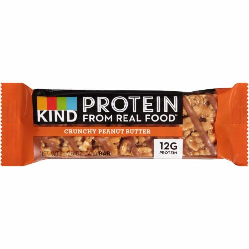 Kind Snacks Crunchy Peanut Butter Protein Bar, 1.76 Ounce -- 72 per case. Perspective: front