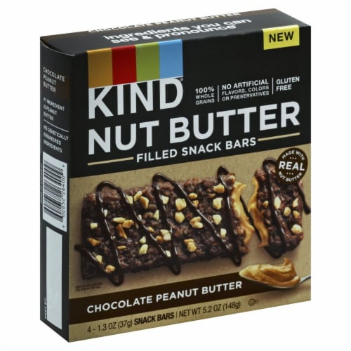 KIND Nut Butter Chocolate Peanut Butter Filled Snack Bars Perspective: front