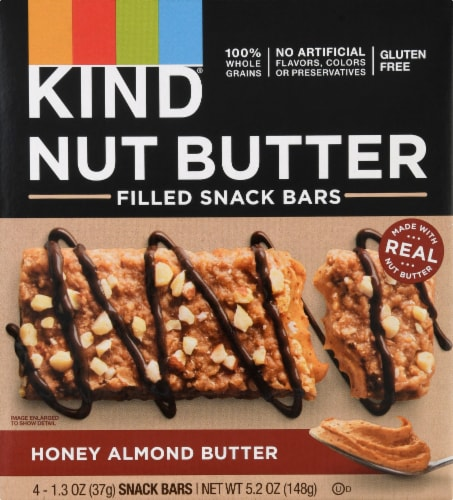 KIND Nut Butter Honey Almond Butter Filled Snack Bars Perspective: front