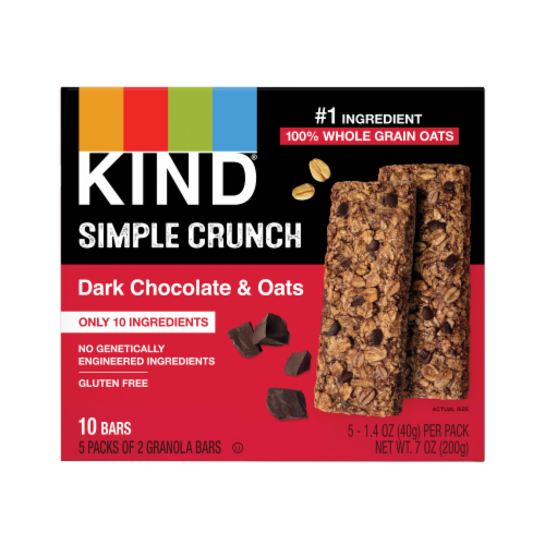 KIND Dark Chocolate & Oats Simple Crunch Granola Bars Perspective: front