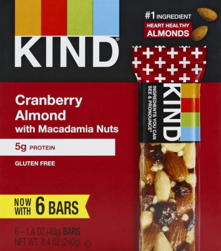 KIND Cranberry Almond with Macadamia Nut Bars Perspective: front