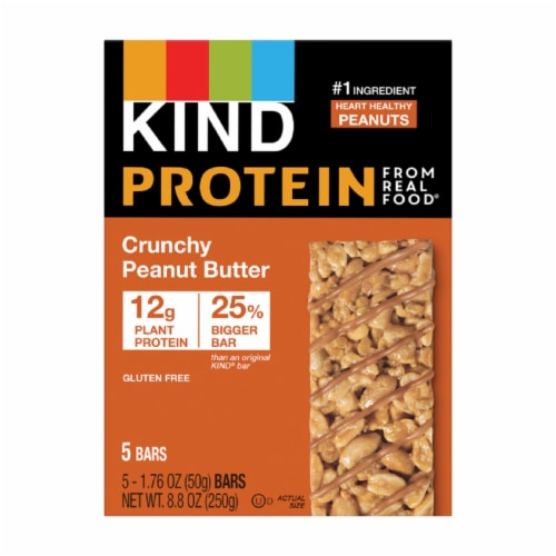 KIND Protein Crunchy Peanut Butter Bars 5 Count Perspective: front