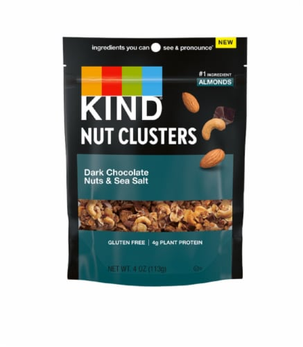 KIND Nut Clusters Dark Chocolate Nuts & Sea Salt Snack Perspective: front