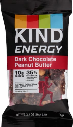KIND Energy Dark Chocolate Peanut Butter Bar Perspective: front