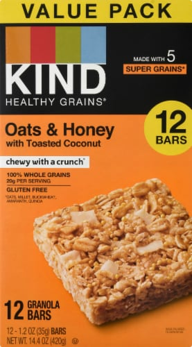 KIND Oats & Honey Fitness Bars 15 Count Perspective: front