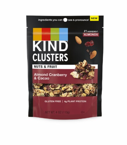 KIND Nuts & Fruit Clusters Almond Cranberry & Cacao Snack Perspective: front
