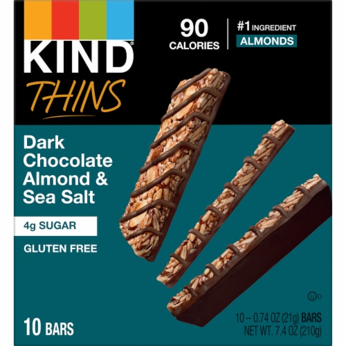 KIND Thins Dark Chocolate Nuts & Sea Salt Bars Perspective: front